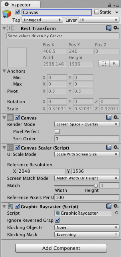Unity canvas UI element set up to scale