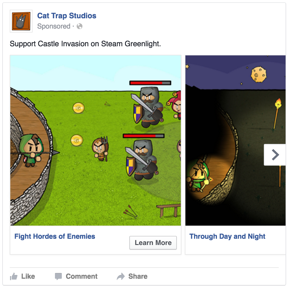 Using Facebook to help in the Steam Greenlight promotion